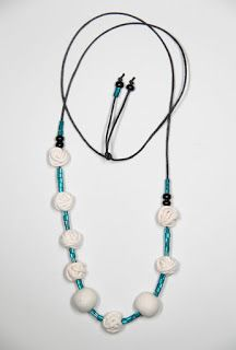 necklace polymer clay polymers White turquoise coral corals glass summer gil workshop Italy gil bottega italia