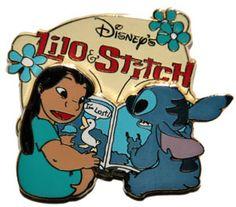 Lilo and Stitch reading - love this one!!  ||  Walt Disney Pins, Trading Disney Pins, Value Of Disney Pins | PinPics
