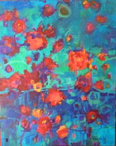 """Flower Fall Tapestry. 30x24 with a 3"""" gold leafed frame. Available thru me."""
