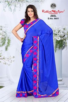 With quality-oriented approach and creative ability, we, introduce a trendsetting range of Sarees. This is one of exquisite collection of sarees. Get set to make a bold style statement with this fancy blue colored printed saree.