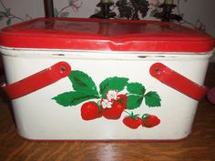 Red Strawberry Picnic Tin Basket vintage 1940's by roosteriver