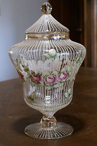 *ANTIQUE ~ Victorian Apothecary Glass Jar Enamel Glassware Ribbed Floral Painted
