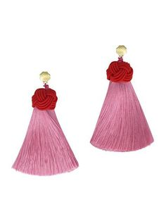 Cherry Top & Peony Pink Topknot Tassel Earrings from Hart Hagerty $54