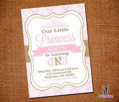 Princess Birthday Invitation Girl Gold Glitter Invitation 1st First Birthday Pink Gold Damask Pattern- Digital File