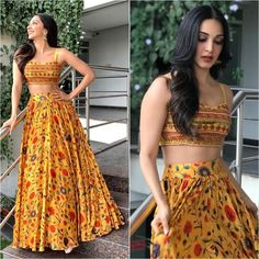 Mehendi outfits - Image may contain 2 people, people standing Indian Lehenga, Indian Gowns, Indian Attire, Indian Wear, Indian Designer Outfits, Designer Dresses, Lehenga Choli Designs, Ghagra Choli, Mehendi Outfits