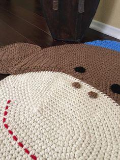 Crochet Sock Monkey Rug by PeanutButterDynamite on Etsy