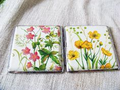 Cigarette case decorated using decoupage technique. Floral.