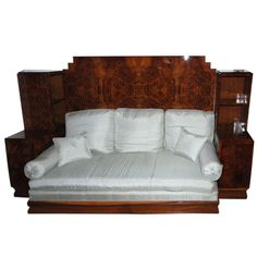 Burl Veneered Mahogany Art Deco Daybed, circa 1930 | From a unique collection of antique and modern day beds at https://www.1stdibs.com/furniture/seating/day-beds/