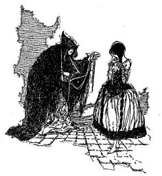 'She showed her pretty stay-laces.' Snow White illustrated by A. H. Watson. #witch #poison #evil