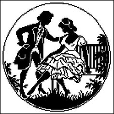 Victorian Courtship Man and Woman Round Monochrome Counted Cross Stitch Pattern PDF