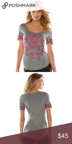 Juicy Couture Grey Pink Glitter Tee Juicy Couture gray tee. Hot pink fuchsia glitter stripes on sleeves. Scoop neck front. Super soft rayon fabric. Also available in pink with black glitter or black with metallic gold. This listing is for the Gray only. Juicy Couture Tops Tees - Short Sleeve