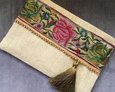 Sage Floral clutch, ethnic handbag, bohobag, bohemian clutch, clutch purse, womens handbag, gift for her