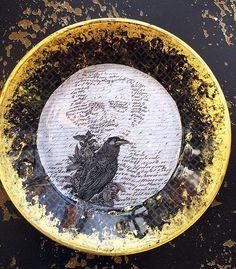 """Quoth the Raven, Edgar Allen Poe, 7.5"""" Decoupage Plate"""