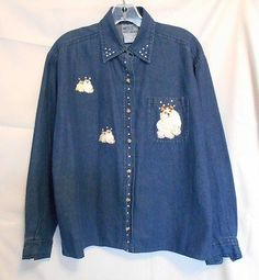 Way to Go Denim Long Sleeve Jacket Embroidery & Clear Chip Studs Size S
