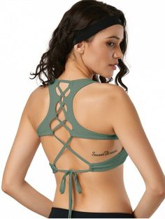 83412400614 Scoop Back Lace Up Padded Sporty Bra - ARMY GREEN M Athletic Outfits