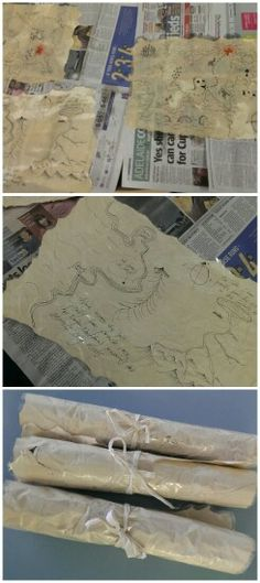 DIY Treasure Maps:  1. Rip the edges of A3 sized paper  2. Draw on map in permanent texta (google for ideas)  3. Paint with strong coffee to achieve desired stain and old look.  4. Allow to dry  5. Can burn edges if desired (best for an adult to do this 6. Scrunch up the paper 7. I decided to cover it in contact so that it will last longer, 7. Add (glue or tape) some string to tie up the map to the back edge.