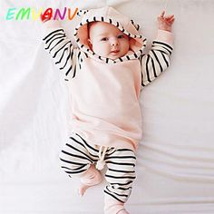 Pink Casual Striped Toddler Newborn Clothes Coat Baby Girl Hooded Top outwear And Long Pants Outfits 2PCS Clothes Set 0 2 year-in Clothing Sets from Mother & Kids on Aliexpress.com | Alibaba Group