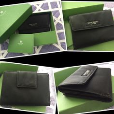 """Kate Spade Nylon Compact Organizer Wallet! This Is For An Extremely Used Kate Spade Black Nylon Wallet. Will Come With Box Shown In Picture. Measures 5.25"""" X 4"""". Does Have Some Pulled/Picked Threading (Especially Around Edges). Has Some Staining & A Black Mark On The ID Slot. Thanks For Looking. No Trades & Price Is Firm. kate spade Bags"""