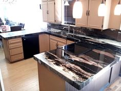 If I'm willing to wait 30 days to cure, this epoxy refinishing kit gives even more gorgeous results than the faux-granite kit! Faux Granite Countertops, Refinish Countertops, Epoxy Countertop, Kitchen Countertops, Clean Granite, Best Kitchen Cabinets, Kitchen Redo, Kitchen Remodel, Kitchen Design