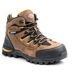 The Dickies Sierra has all the benefits of a hiker in a waterproof, 6 in. ASTM certified, steel toe work boot with durable rubber toe and heel guards. The upper consists of rugged full grain leather and Brown Leather Boots, Brown Boots, Black Boots, Good Work Boots, Steel Toe Work Boots, Dickies Work Boots, Best Shoes For Men, Shoe Deals, Leather Working