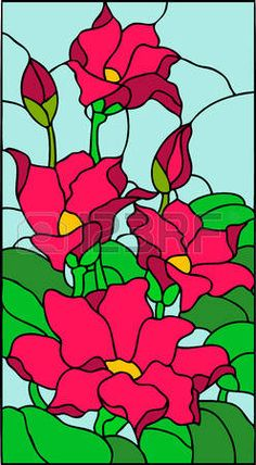 Floral composition with butterfly, stained glass window - Glass Painting Patterns, Glass Painting Designs, Stained Glass Patterns, Paint Designs, Stained Glass Paint, Stained Glass Flowers, Stained Glass Windows, Mosaic Art, Mosaic Glass