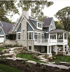 Blue house with white trim casas grandes, casas rústicas, casas bonitas, ma Future House, My House, House On The Beach, Houses Architecture, Home Architecture Styles, Dream House Exterior, House Ideas Exterior, House Exteriors, Stone On House Exterior
