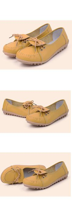 Women's #yellow leather #slipon shoes, classic and comfort