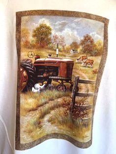 Farm Tractor Scene Chicken Cow T Shirt Adult XL White Custom Orders Welcome…