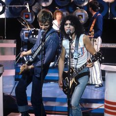 David Bowie performs with Marc Bolan on 'Marc' Picture: ITV ... September 1977