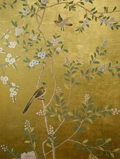 gold hand painted chinese wallpaper - one wall in my dining room ... :)