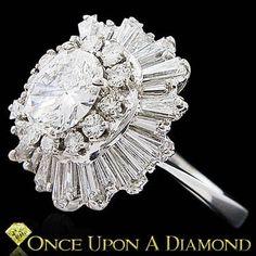 Estate Ballerina Rings   97ctw Ladies Diamond Ballerina Ring in White Gold Oval Cut Antique ...