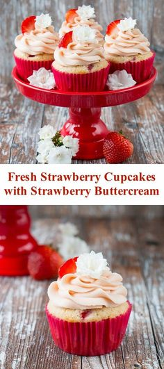 These fresh strawberry cupcakes are made from scratch with real strawberries and topped with a creamy strawberry buttercream. They are incredibly fluffy and moist and full of fresh fruit flavor. Strawberry Cupcake Recipes, Strawberry Buttercream, Cupcake Flavors, Buttercream Cupcakes, Buttercream Recipe, Gourmet Cupcakes, Dessert Simple, Köstliche Desserts, Best Dessert Recipes