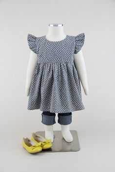 5174b903cf Flutter Sleeve Top or Dress in Gray Dot    Baby by MiaBelleShop