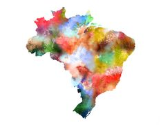 Colorful Watercolor Map Painting