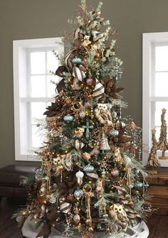 Decorate a log cabin style rustic tree this Christmas. Shades of brown, golden and white will create interest in this themed tree decor. Used above are small and large feathered owls, squirrels, beaded acorns, feathered birds, pine sprays, brown poinsettias and plaid and herringbone ribbons. All available at RAZ Imports. You can also use: Faux …