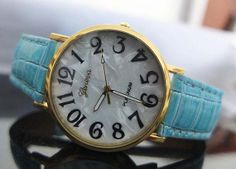 New style Geneva watches, leather shell shape dial watches, men's and women's watch on Wanelo