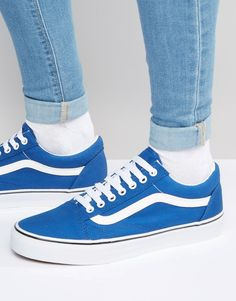8079e659de Vans+Old+Skool+Canvas+Trainers+In+Blue+V3Z6IP1 Vans