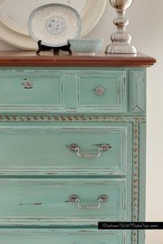 Painted Furniture ~ TURQUOISE / Provence, dry brushed with old white, clear and a mix of clear and dark wax by faye: Chalk Paint Furniture, Furniture Projects, Furniture Making, Furniture Makeover, Diy Furniture, Dresser Makeovers, Chair Makeover, Furniture Websites, Inexpensive Furniture