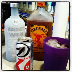 This sounds good.Gotta try this: 1 shot Fireball + 1 shot Vanilla Vodka + 1 can Diet Coke = Yum! Party Drinks, Fun Drinks, Yummy Drinks, Alcoholic Drinks, Beverages, Cocktails, Fireball Whiskey Drinks, Vanilla Vodka Drinks, Fireball Recipes
