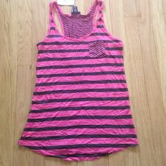 SALE NWT Rue21 Pink&Gray Striped Tank Top - S NWT Rue21 Pink & Gray Striped Tank Top - small. Loser fit, could fit a medium too but wouldn't be as lose. Rue 21 Tops Tank Tops