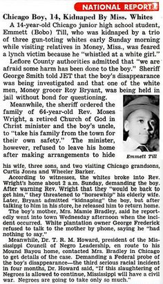 56 Years Ago Today (Emmett Died 08/28/55)- Emmett Till Case - First News Mention of Emmett Till Kidnapping by Mississippi Whites pt 1 - Jet ...