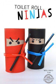 Toilet Roll Ninjas - Toilet Paper Roll Crafts For Kids Fun Crafts For Kids, Craft Activities For Kids, Summer Crafts, Creative Crafts, Projects For Kids, Diy For Kids, Crafts To Make, Cool Kids, Creative Ideas For Kids