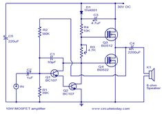 mosfet amplifier circuit -10 watts