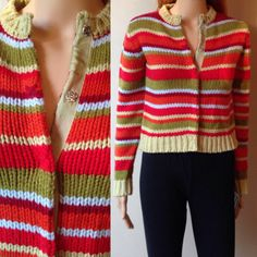 80s Vintage Esprit Cardigan Sweater striped mtv by MayDayRiots