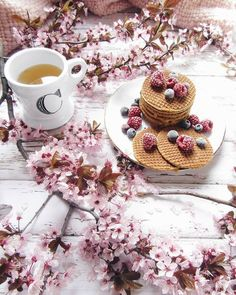 Stroop waffles and cherry blossoms. Coffee Time, Morning Coffee, Tea Time, Coffee Cups, Tea Cups, Coffee Corner, Flat Lay Photography, Food Photography, Coffee Photography