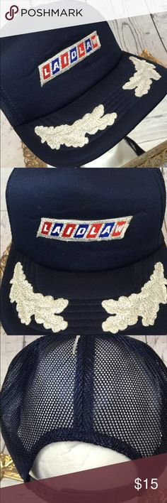 Vintage LAIDLAW Navy & Silver Patch Truckers Hat Sweet LAIDLAW Navy & Silver truckers hat ... Perfect retro piece to rock out today or save as a collectors item!! Fully adjustable. Vintage beauty!!  From a smoke free home! Accessories Hats