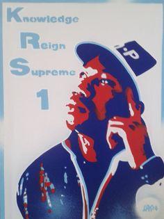 Krs One paintings stencil art canvas spray can art hip hop rap