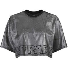 Metallic Airtex Boxy Tee by Ivy Park (705 ARS) ❤ liked on Polyvore featuring tops, t-shirts, metallic top, logo t shirts, long-sleeve crop tops, basketball jerseys and metallic t shirt