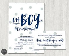 Oh Boy Baby Shower Invitation Couples by paperandinkdesignco