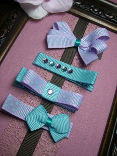 4 pack of purple & blue hair clips / bows free shipping - by KJPDesigns on madeit